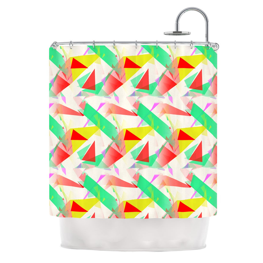 "Alison Coxon ""Confetti Triangles Red"" Green Red Shower Curtain - KESS InHouse"