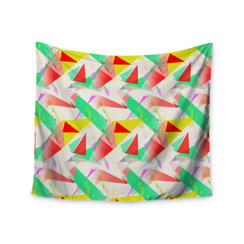 "Alison Coxon ""Confetti Triangles Red"" Green Red Wall Tapestry - KESS InHouse  - 1"