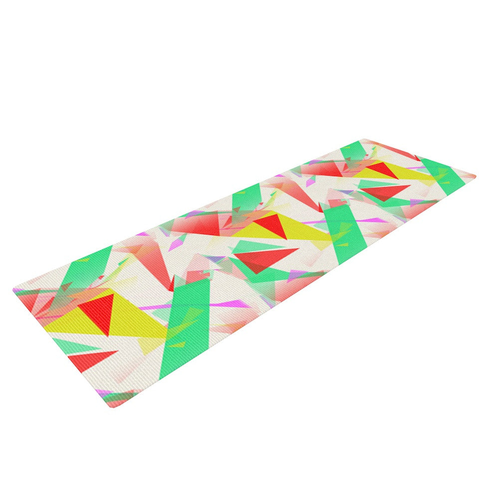 "Alison Coxon ""Confetti Triangles Red"" Green Red Yoga Mat - KESS InHouse  - 1"