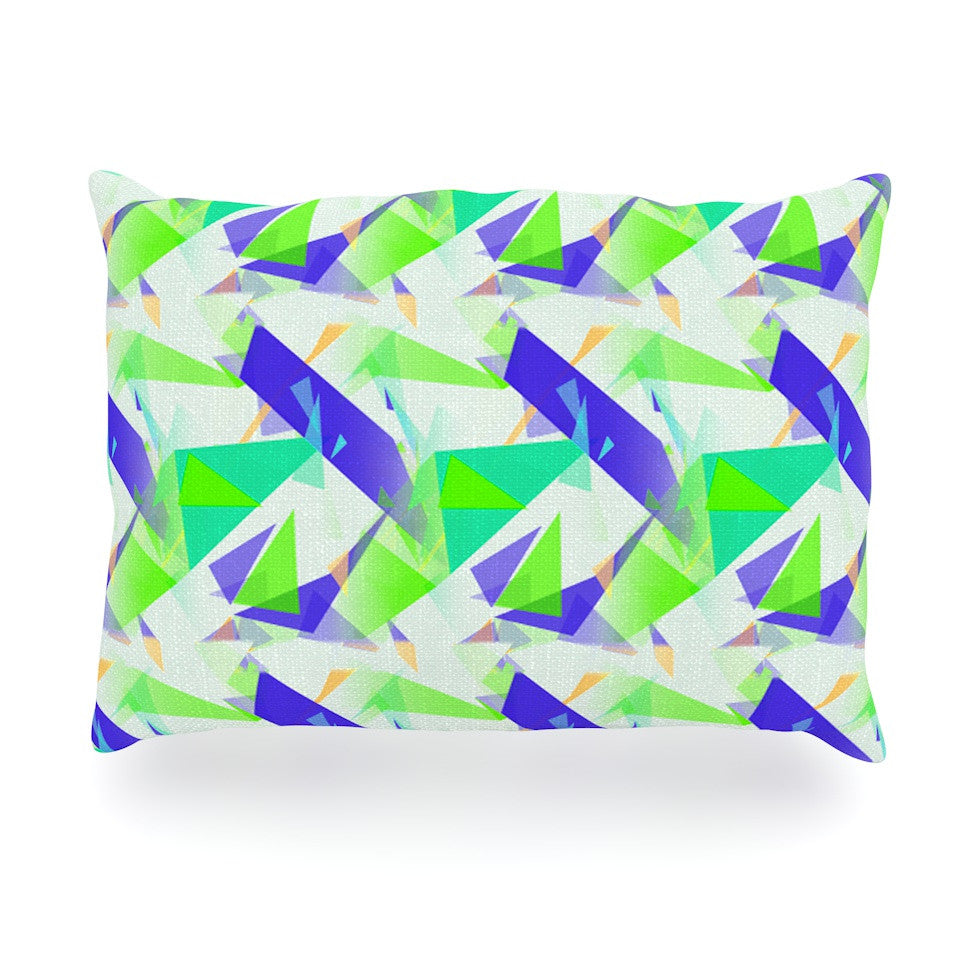 "Alison Coxon ""Confetti Triangles Blue"" Green Teal Oblong Pillow - KESS InHouse"