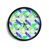 "Alison Coxon ""Confetti Triangles Blue"" Green Teal Modern Wall Clock"