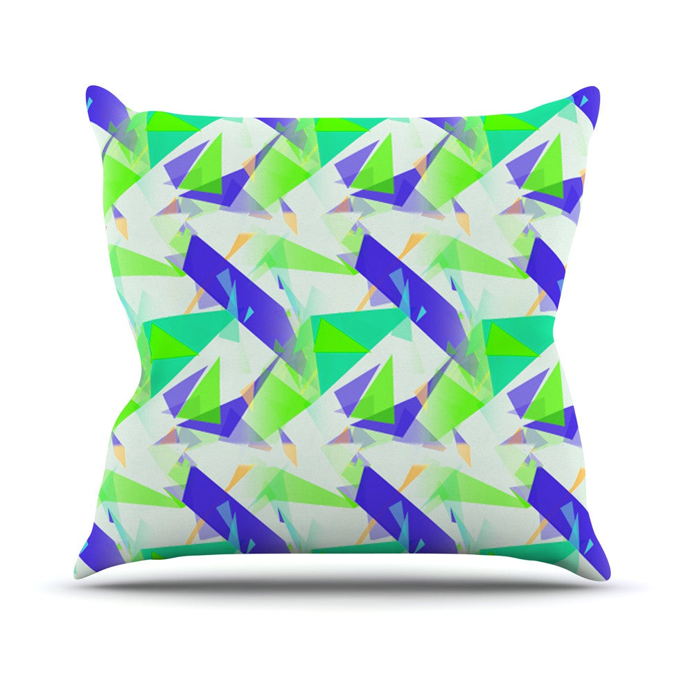 "Alison Coxon ""Confetti Triangles Blue"" Green Teal Outdoor Throw Pillow - KESS InHouse  - 1"