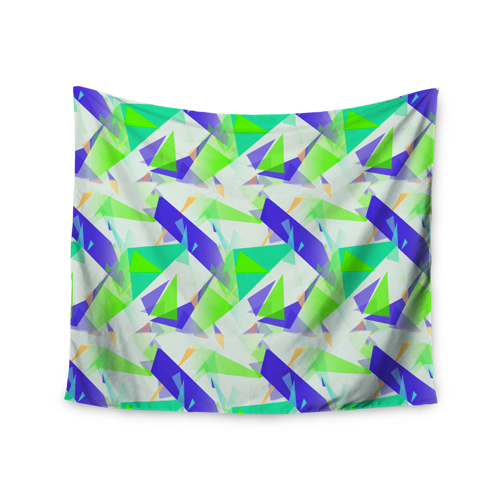 "Alison Coxon ""Confetti Triangles Blue"" Green Teal Wall Tapestry - KESS InHouse  - 1"