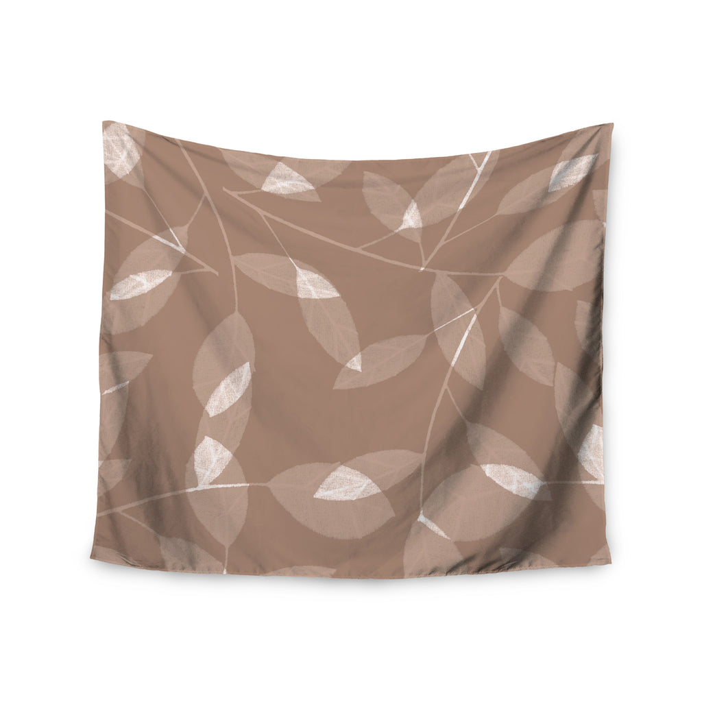 "Alison Coxon ""Leaf Tawny"" Brown Beige Wall Tapestry - KESS InHouse  - 1"