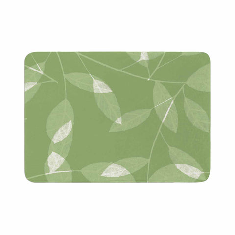 "Alison Coxon ""Leaf Olive"" Green Memory Foam Bath Mat - Outlet Item"