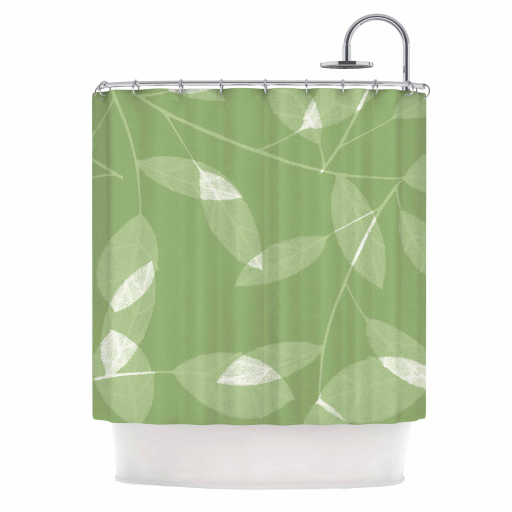 Leaf Olive Shower Curtain By Alison Coxon