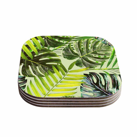 "Alison Coxon ""Jungle Green"" Green Yellow Coasters (Set of 4) - Outlet Item"