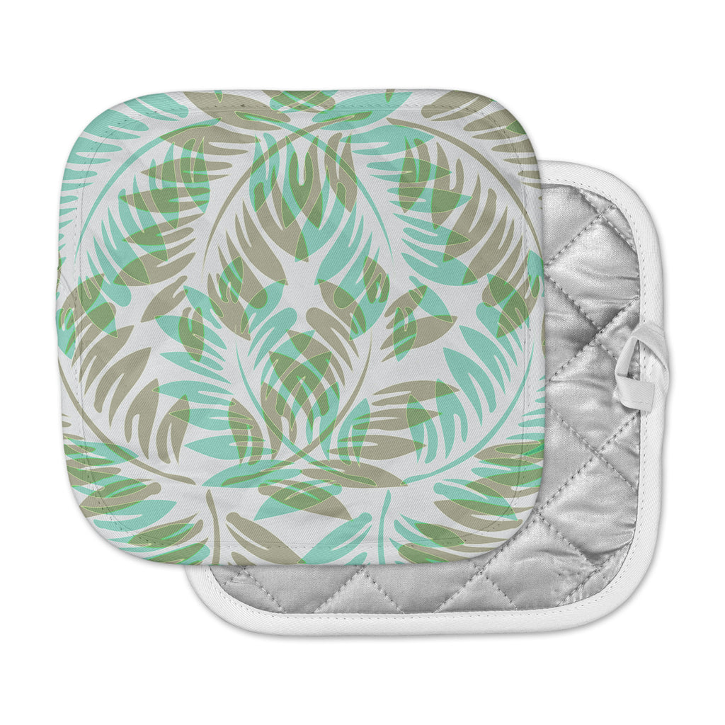 "Alison Coxon ""Winter Fern"" Green Teal Pot Holder"