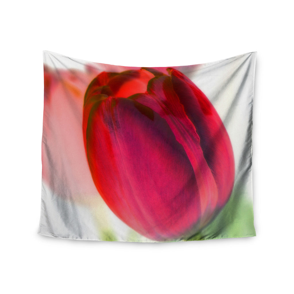 "Alison Coxon ""Tulips"" Red White Wall Tapestry - KESS InHouse  - 1"