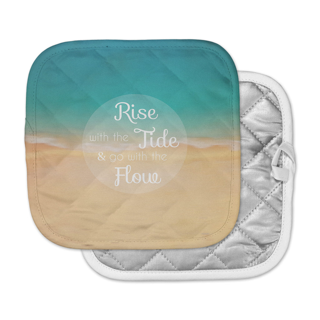"Alison Coxon ""Rise With The Tide"" Teal Brown Pot Holder"