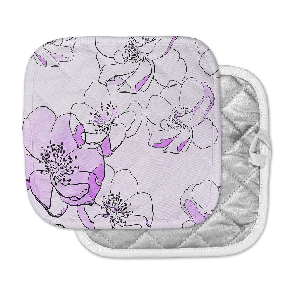 "Alison Coxon ""Painted Wild Roses Purple"" Pink Floral Pot Holder"