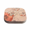 "Alison Coxon ""Painted Wild Roses"" Coral Floral Coasters (Set of 4)"