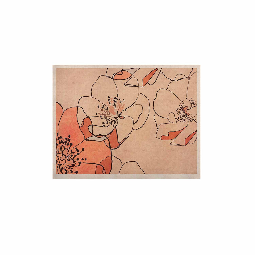 "Alison Coxon ""Painted Wild Roses"" Coral Floral KESS Naturals Canvas (Frame not Included) - KESS InHouse  - 1"