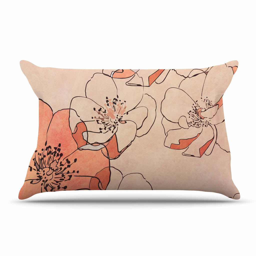 "Alison Coxon ""Painted Wild Roses"" Coral Floral Pillow Sham - KESS InHouse  - 1"
