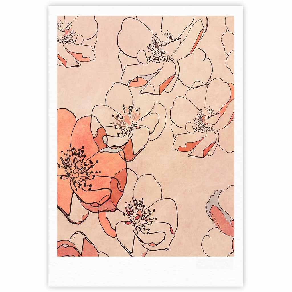 "Alison Coxon ""Painted Wild Roses"" Coral Floral Fine Art Gallery Print - KESS InHouse"
