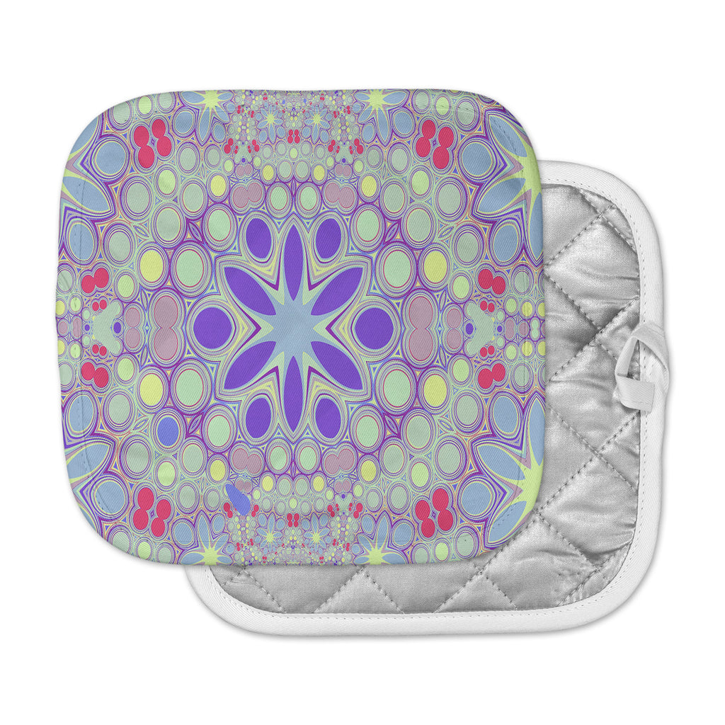 "Alison Coxon ""Hippy Flowers"" Lavender Kaleidoscope Pot Holder"