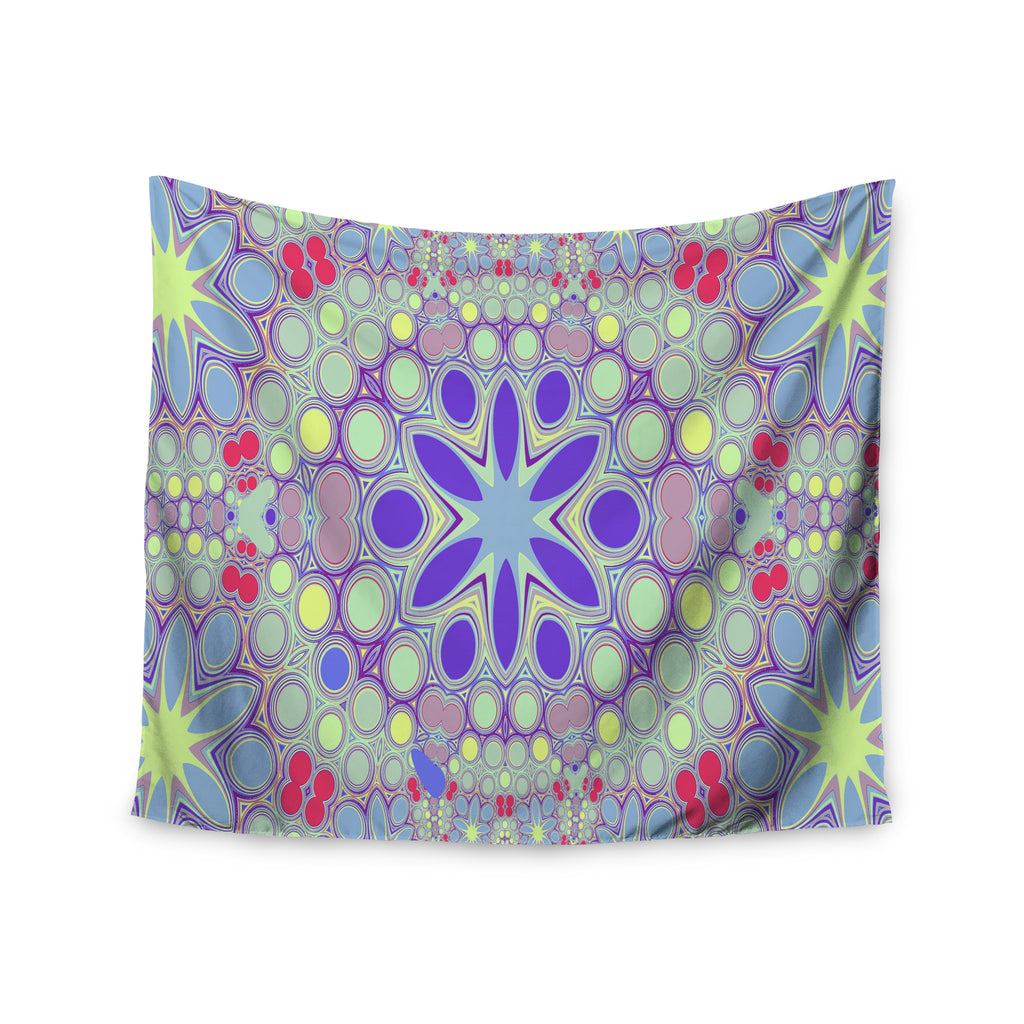 "Alison Coxon ""Hippy Flowers"" Lavender Kaleidoscope Wall Tapestry - KESS InHouse  - 1"