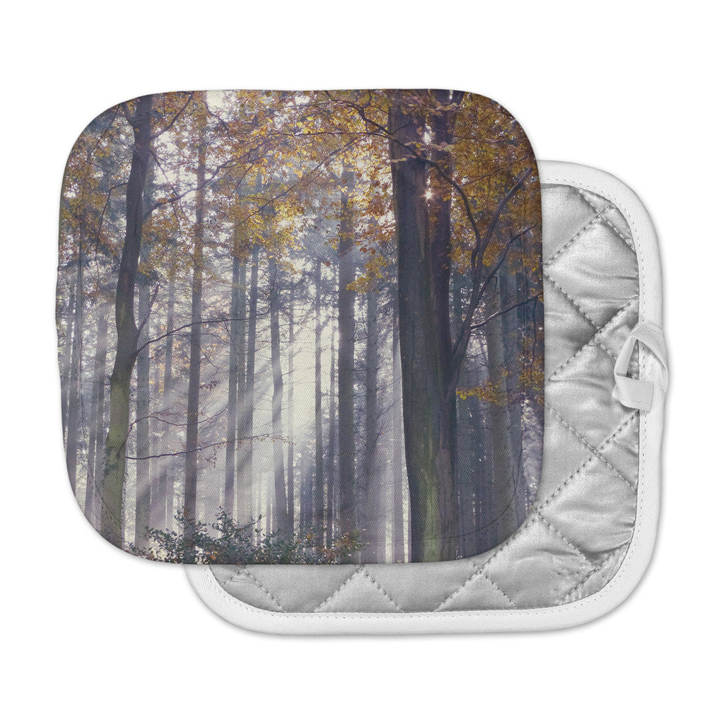 "Alison Coxon ""Autumn Sunbeams"" Trees Photography Pot Holder"
