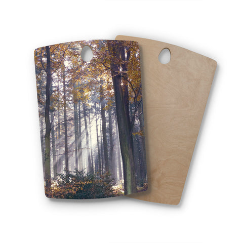 "Alison Coxon ""Autumn Sunbeams"" Trees Photography Rectangle Wooden Cutting Board"