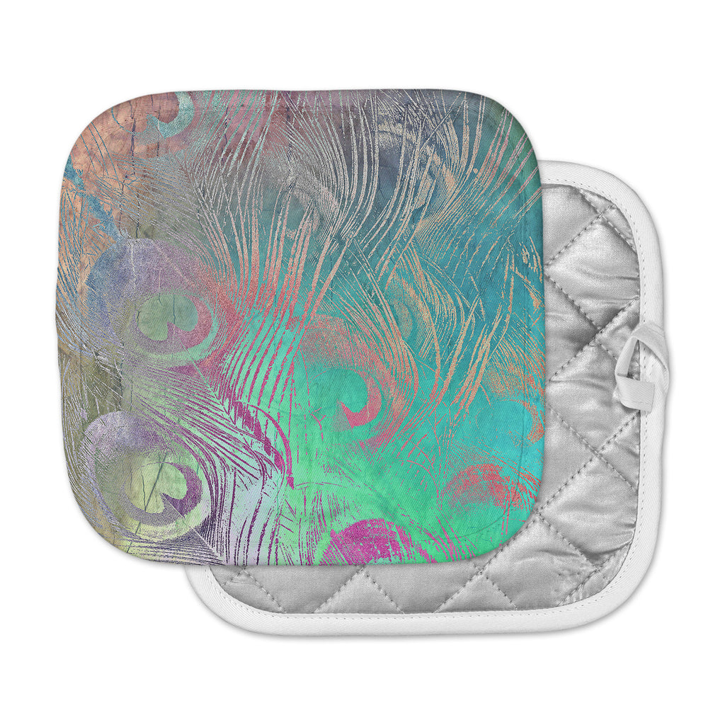 "Alison Coxon "" Indian Summer"" Purple Teal Abstract Pot Holder"