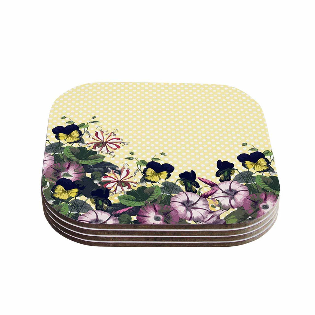 "Alison Coxon ""Polka Dot"" Purple Yellow Coasters (Set of 4)"