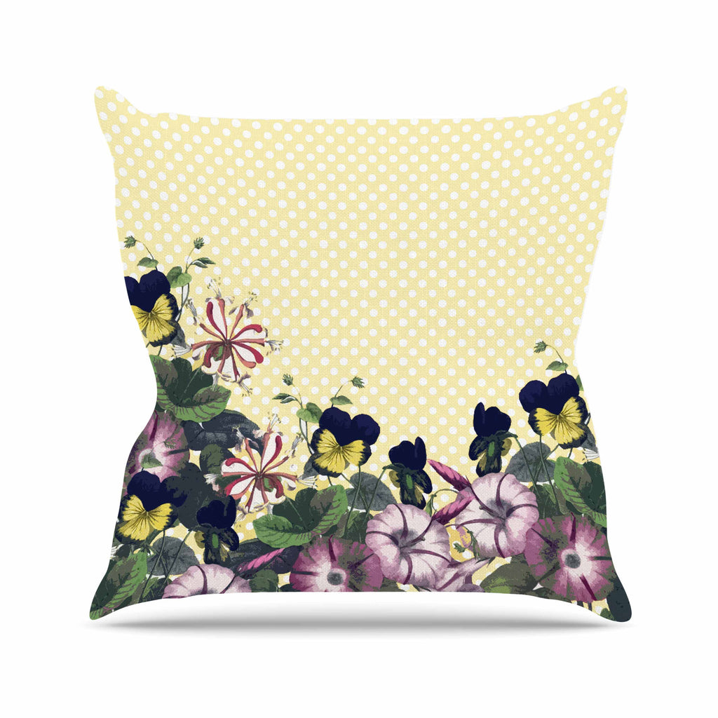 "Alison Coxon ""Polka Dot"" Purple Yellow Throw Pillow - KESS InHouse  - 1"