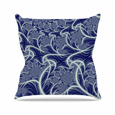 "Alison Coxon ""Midnight Dreams"" Blue White Outdoor Throw Pillow - KESS InHouse  - 1"