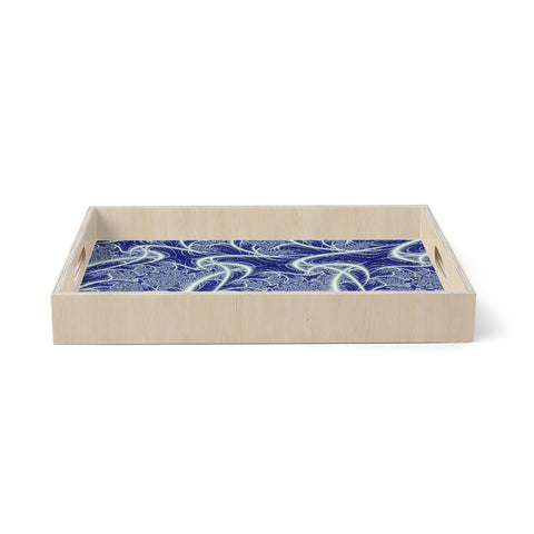 "Alison Coxon ""Midnight Dreams"" Blue White Birchwood Tray"