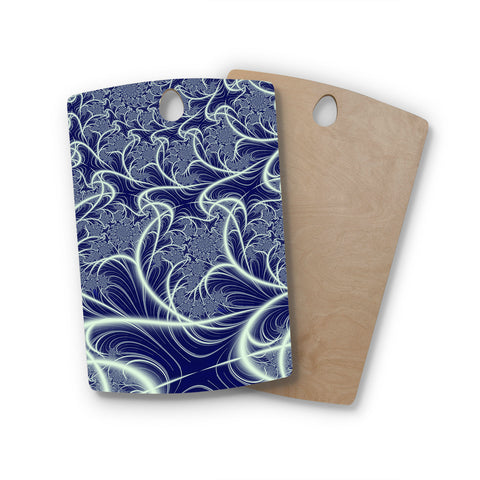 "Alison Coxon ""Midnight Dreams"" Blue White Rectangle Wooden Cutting Board"