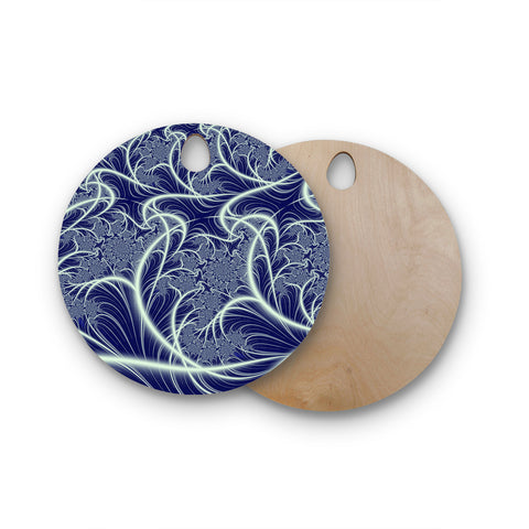 "Alison Coxon ""Midnight Dreams"" Blue White Round Wooden Cutting Board"
