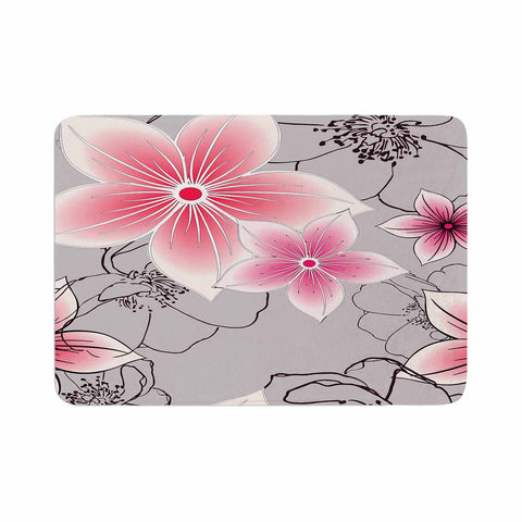 "Alison Coxon ""Grey And Pink Floral"" Grey Pink Memory Foam Bath Mat - KESS InHouse"