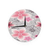 "Alison Coxon ""Grey And Pink Floral"" Grey Pink Wall Clock - KESS InHouse"