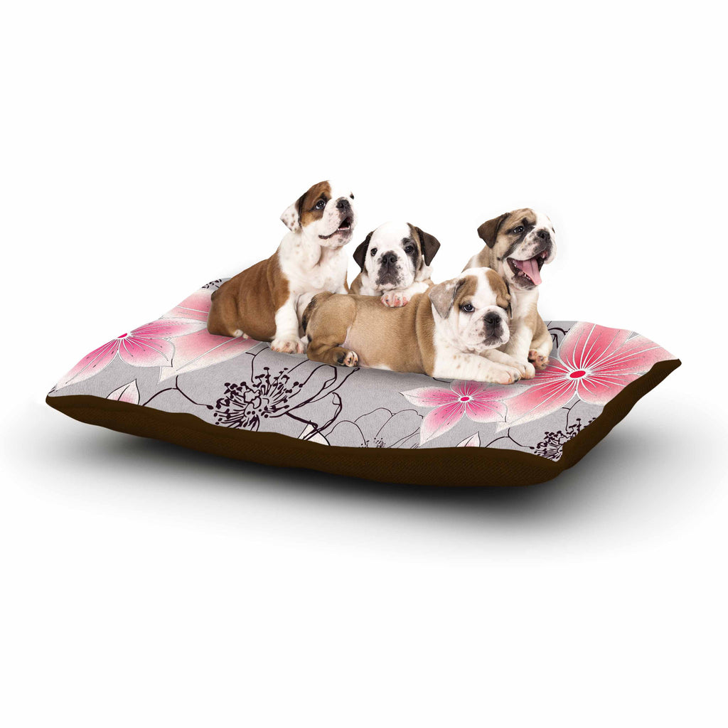"Alison Coxon ""Grey And Pink Floral"" Grey Pink Dog Bed - KESS InHouse  - 1"