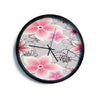 "Alison Coxon ""Grey And Pink Floral"" Grey Pink Modern Wall Clock"