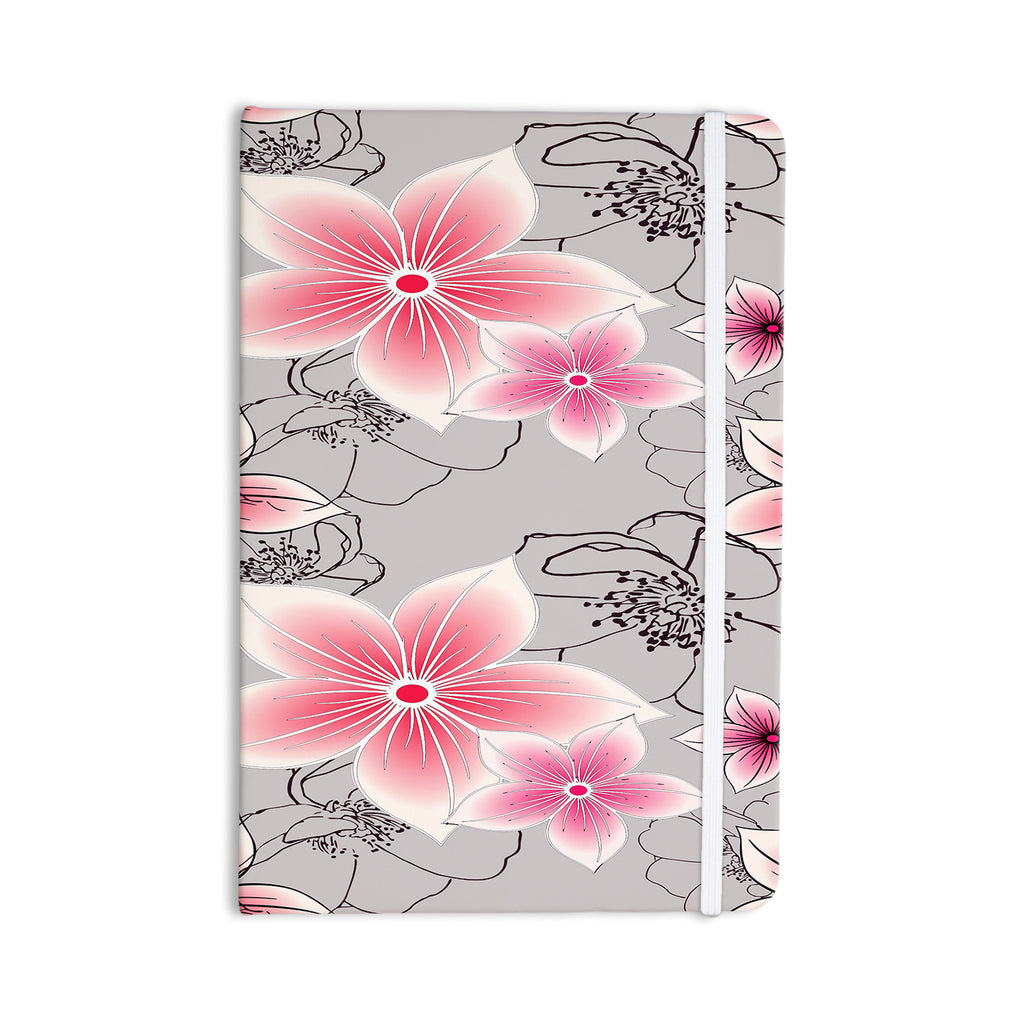 "Alison Coxon ""Grey And Pink Floral"" Grey Pink Everything Notebook - KESS InHouse  - 1"