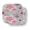 "Alison Coxon ""Grey And Pink Floral"" Grey Pink Pot Holder"