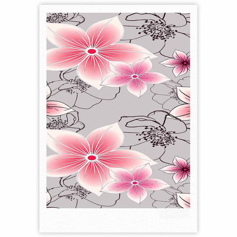"Alison Coxon ""Grey And Pink Floral"" Grey Pink Fine Art Gallery Print - KESS InHouse"