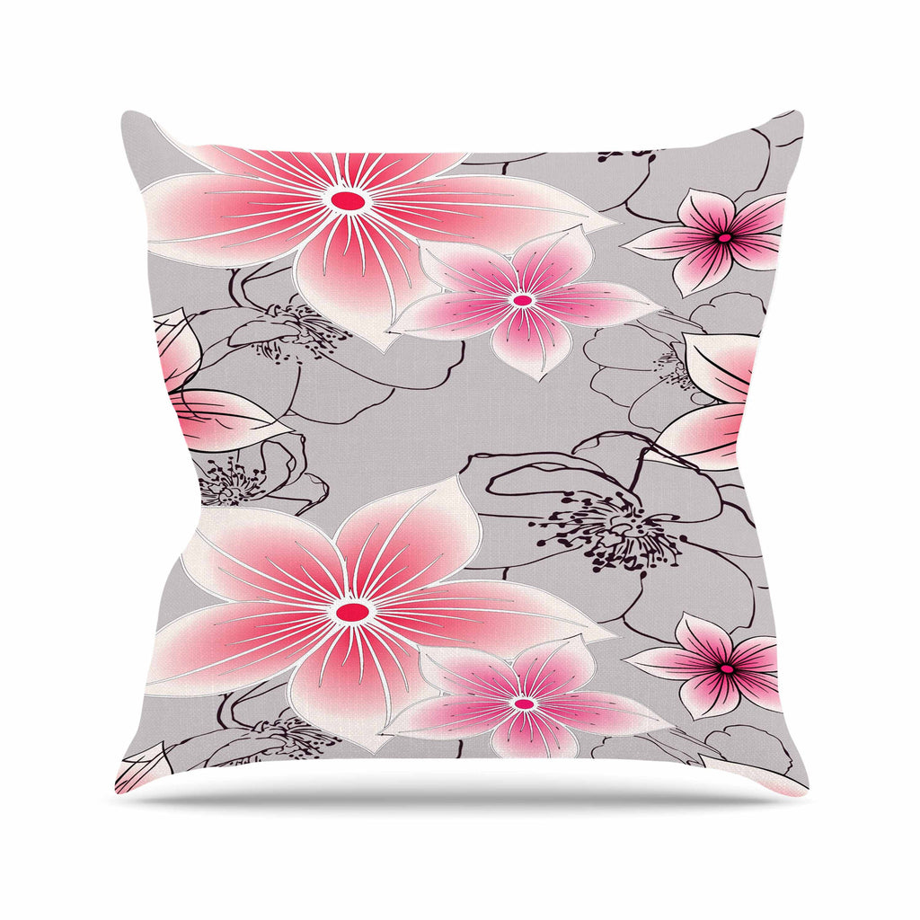 "Alison Coxon ""Grey And Pink Floral"" Grey Pink Outdoor Throw Pillow - KESS InHouse  - 1"