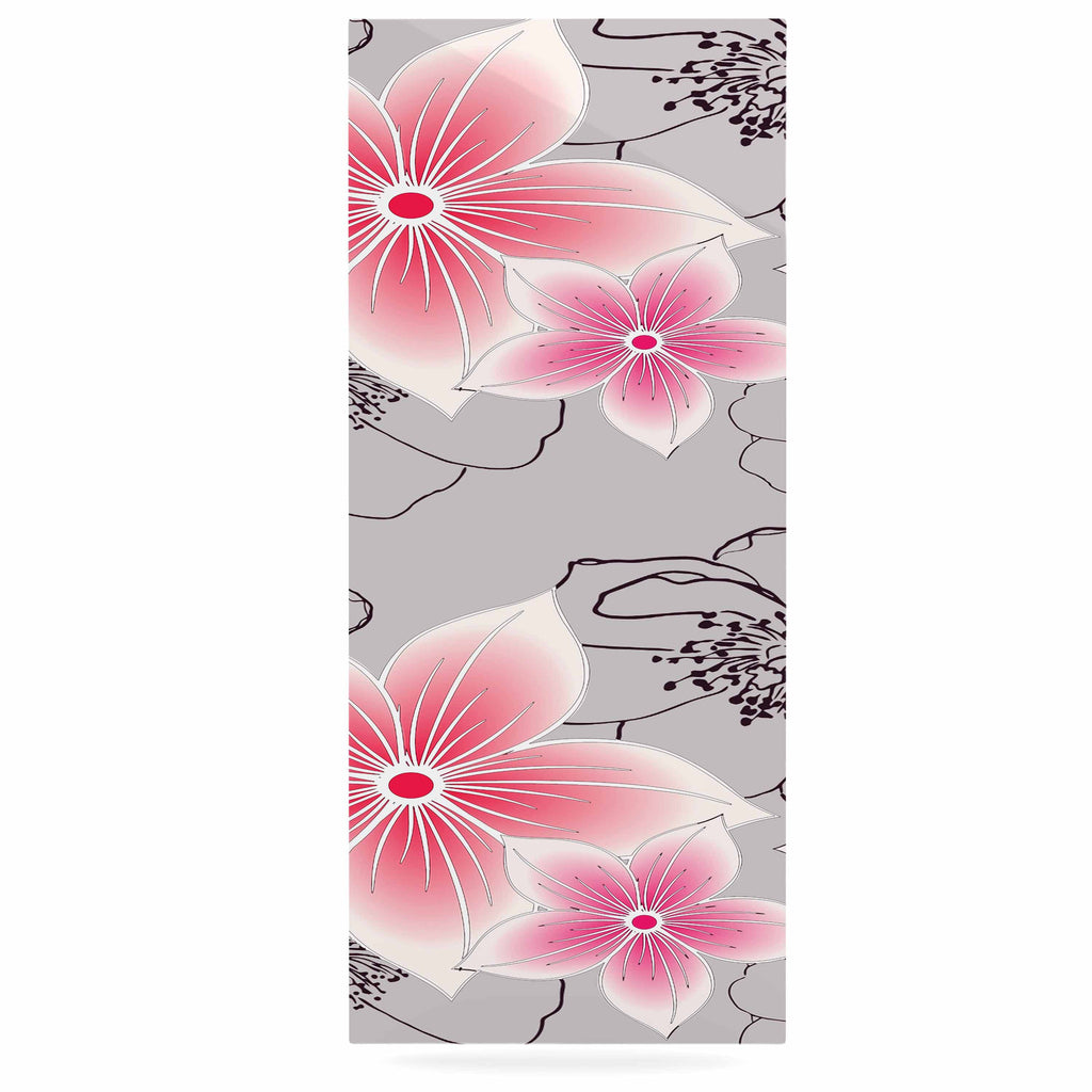 "Alison Coxon ""Grey And Pink Floral"" Grey Pink Luxe Rectangle Panel - KESS InHouse  - 1"