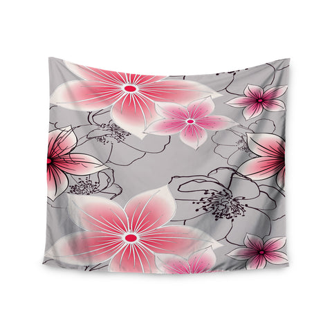 "Alison Coxon ""Grey And Pink Floral"" Grey Pink Wall Tapestry - KESS InHouse"