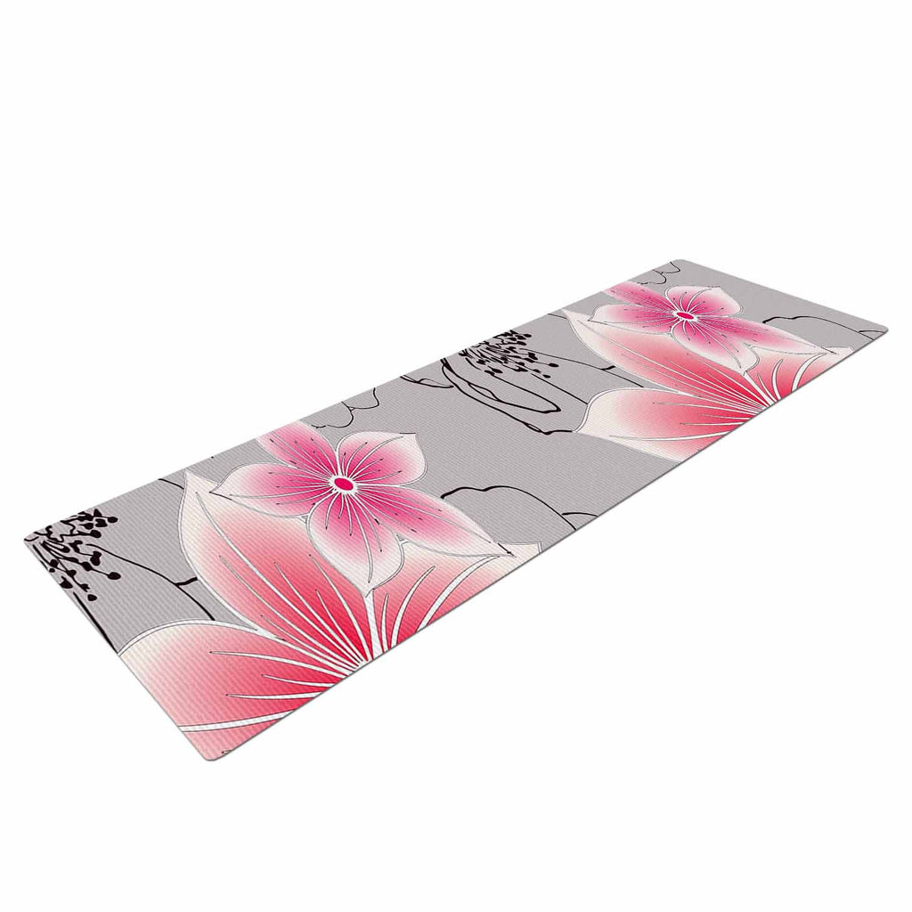 "Alison Coxon ""Grey And Pink Floral"" Grey Pink Yoga Mat - KESS InHouse  - 1"