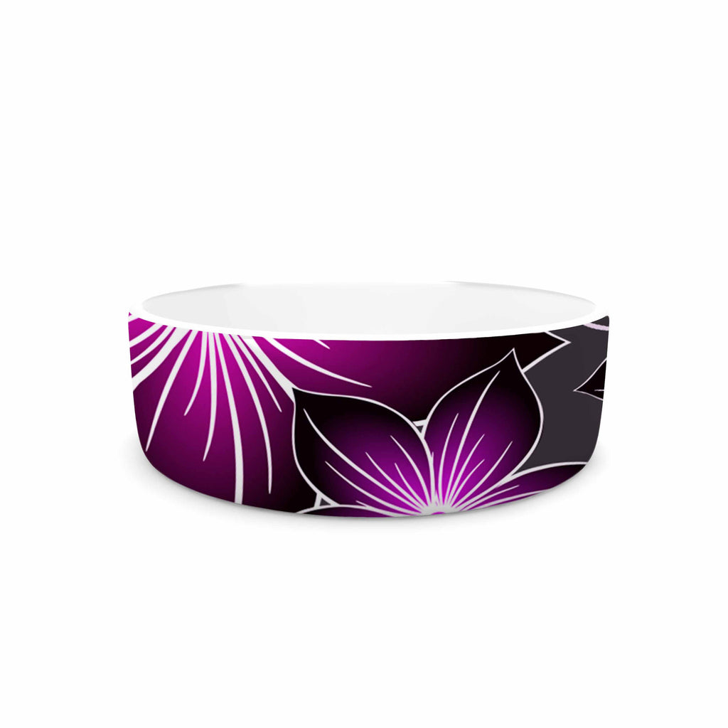 "Alison Coxon ""Charcoal And Amthyst"" Gray Purple Pet Bowl - KESS InHouse"