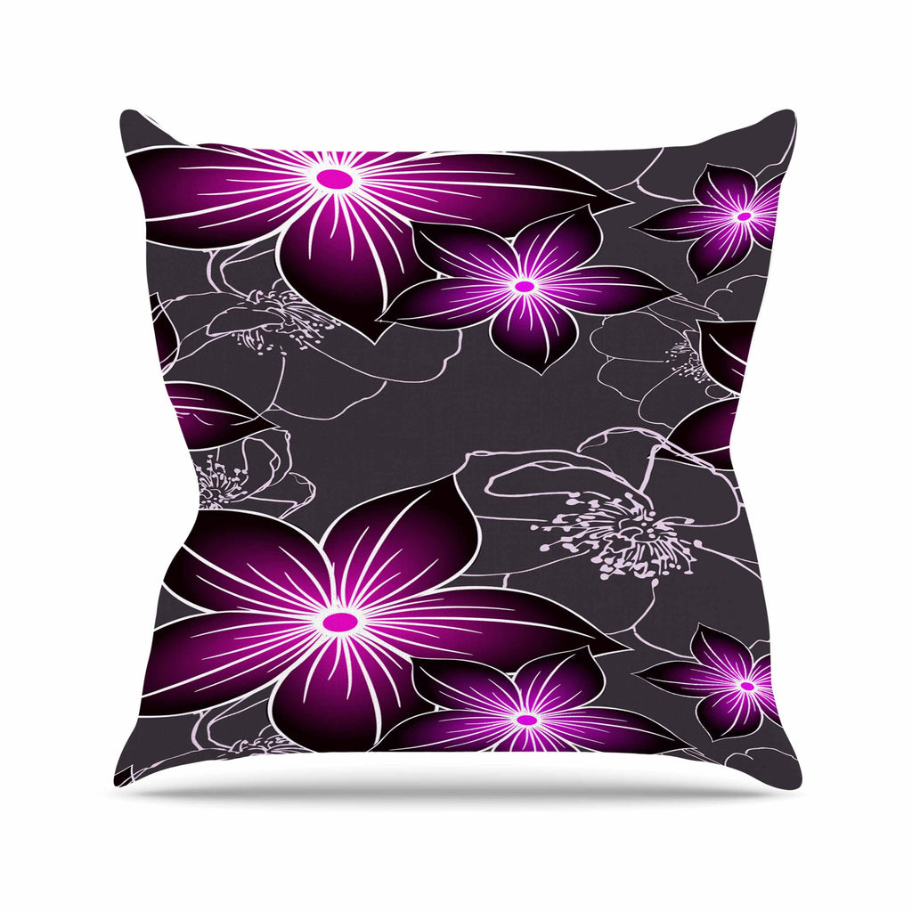"Alison Coxon ""Charcoal And Amthyst"" Gray Purple Throw Pillow - KESS InHouse  - 1"