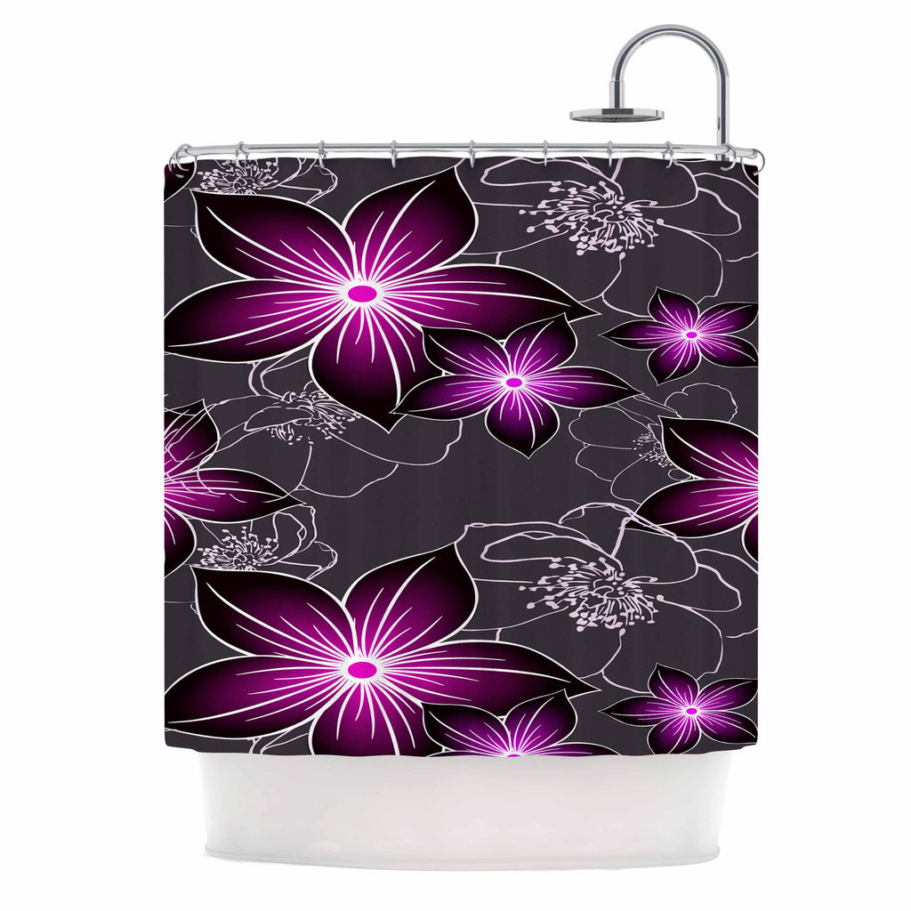 "Alison Coxon ""Charcoal And Amthyst"" Gray Purple Shower Curtain - KESS InHouse"