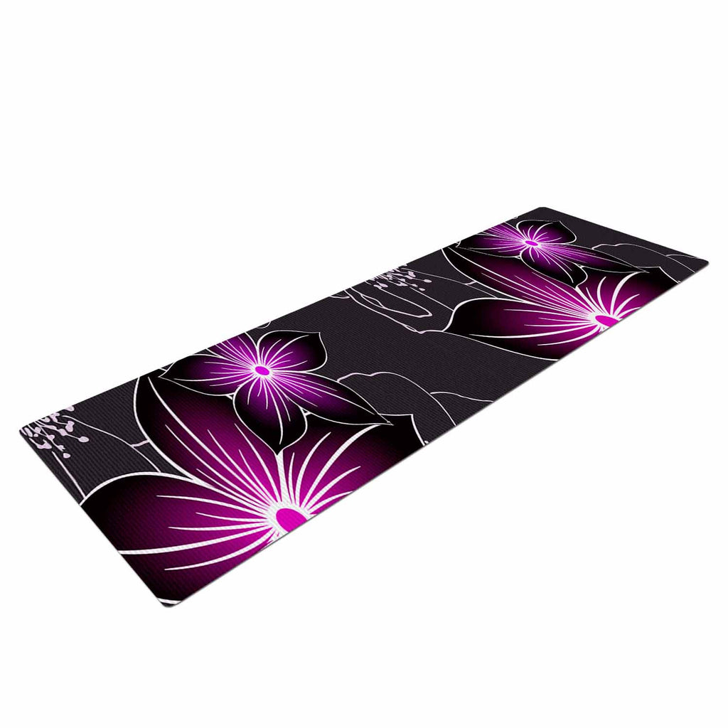 "Alison Coxon ""Charcoal And Amthyst"" Gray Purple Yoga Mat - KESS InHouse  - 1"