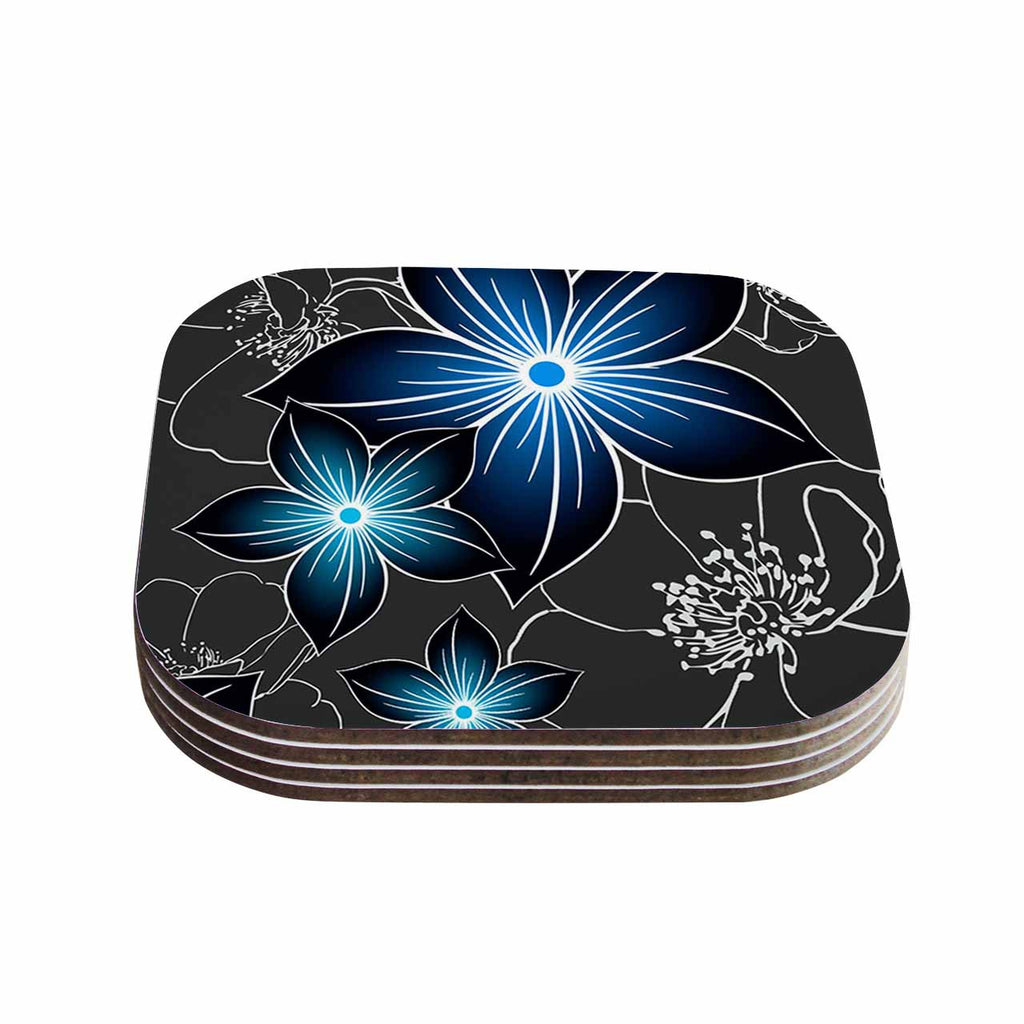 "Alison Coxon ""Charcoal And Cobalt"" Gray Blue Coasters (Set of 4)"