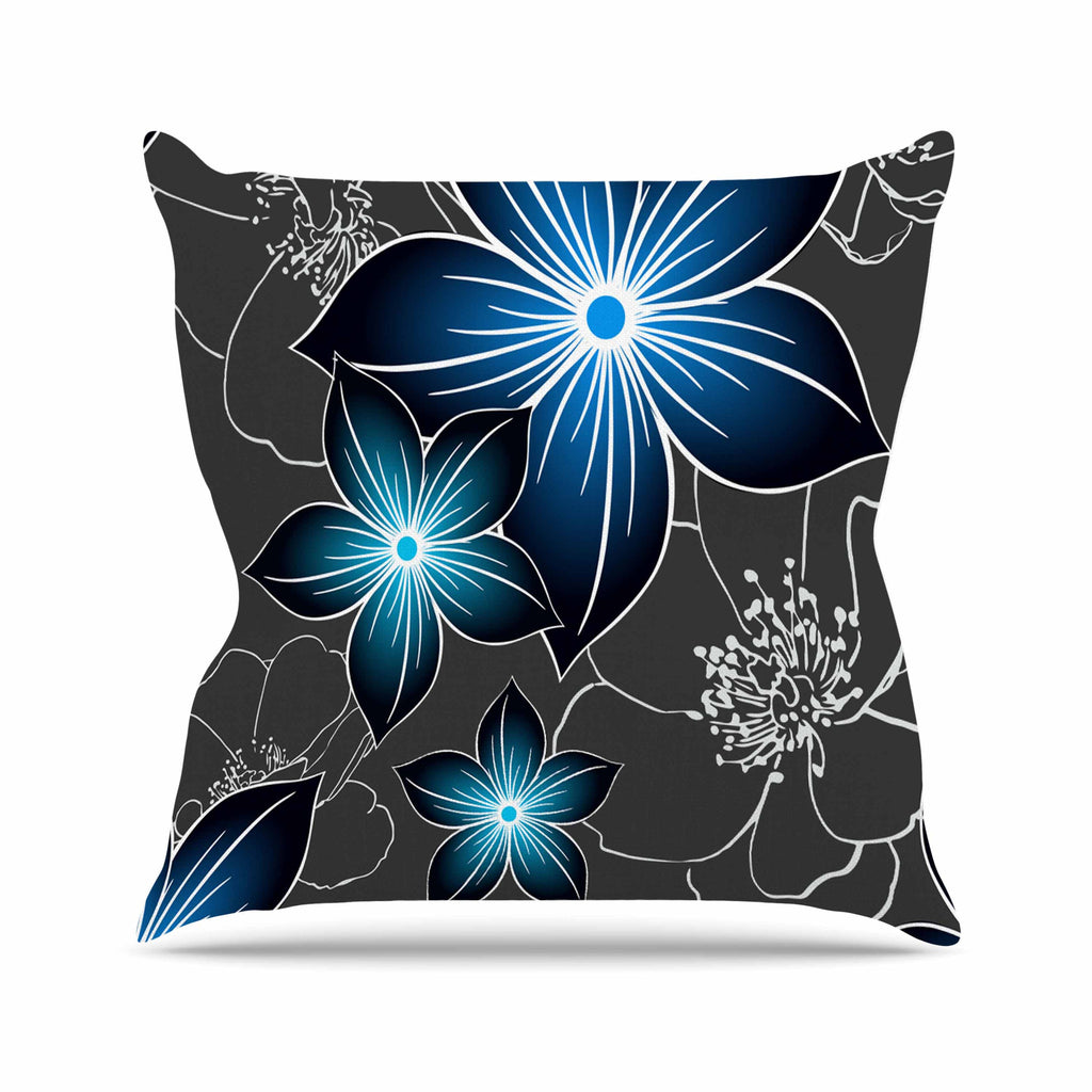 "Alison Coxon ""Charcoal And Cobalt"" Gray Blue Outdoor Throw Pillow - KESS InHouse  - 1"