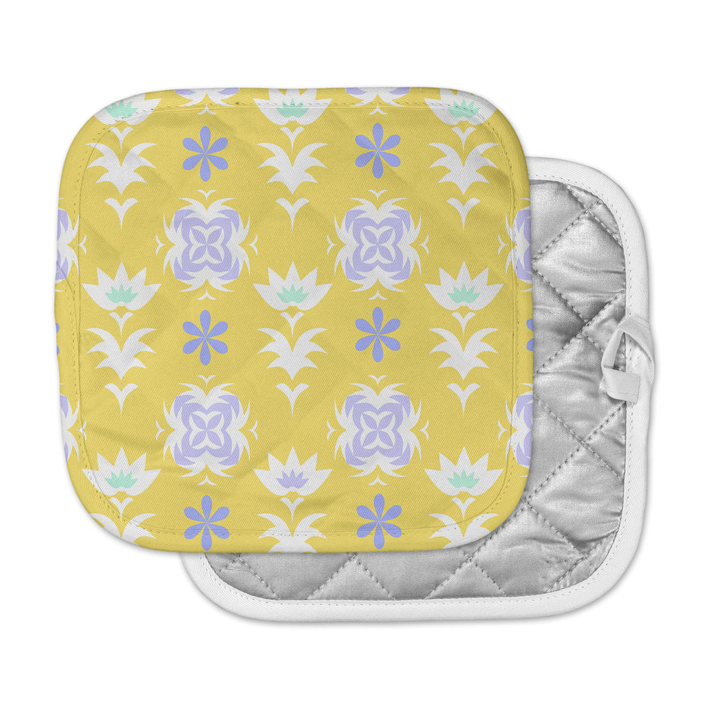 "Alison Coxon ""Edwardian Tile Yellow"" Yellow White Pot Holder"
