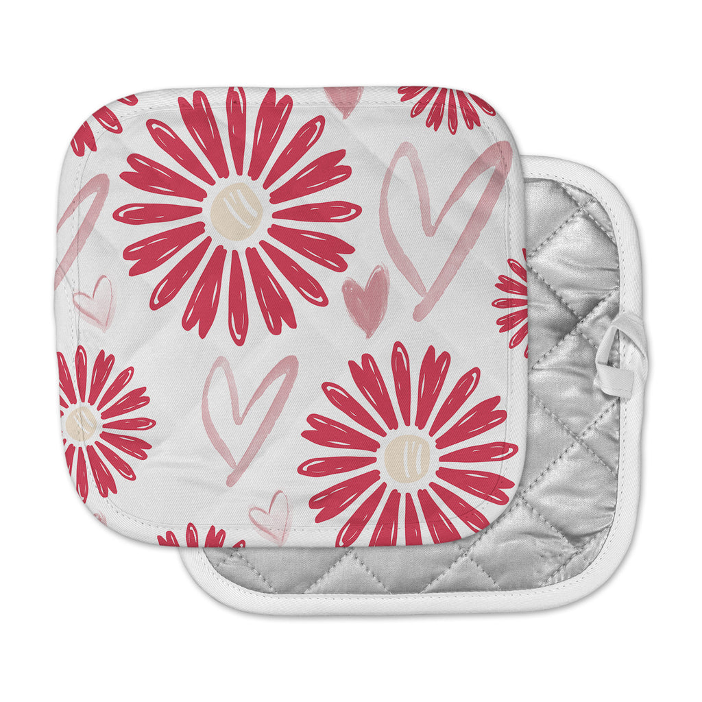"Alison Coxon ""Hearts And Flowers"" Love Pink Pot Holder"