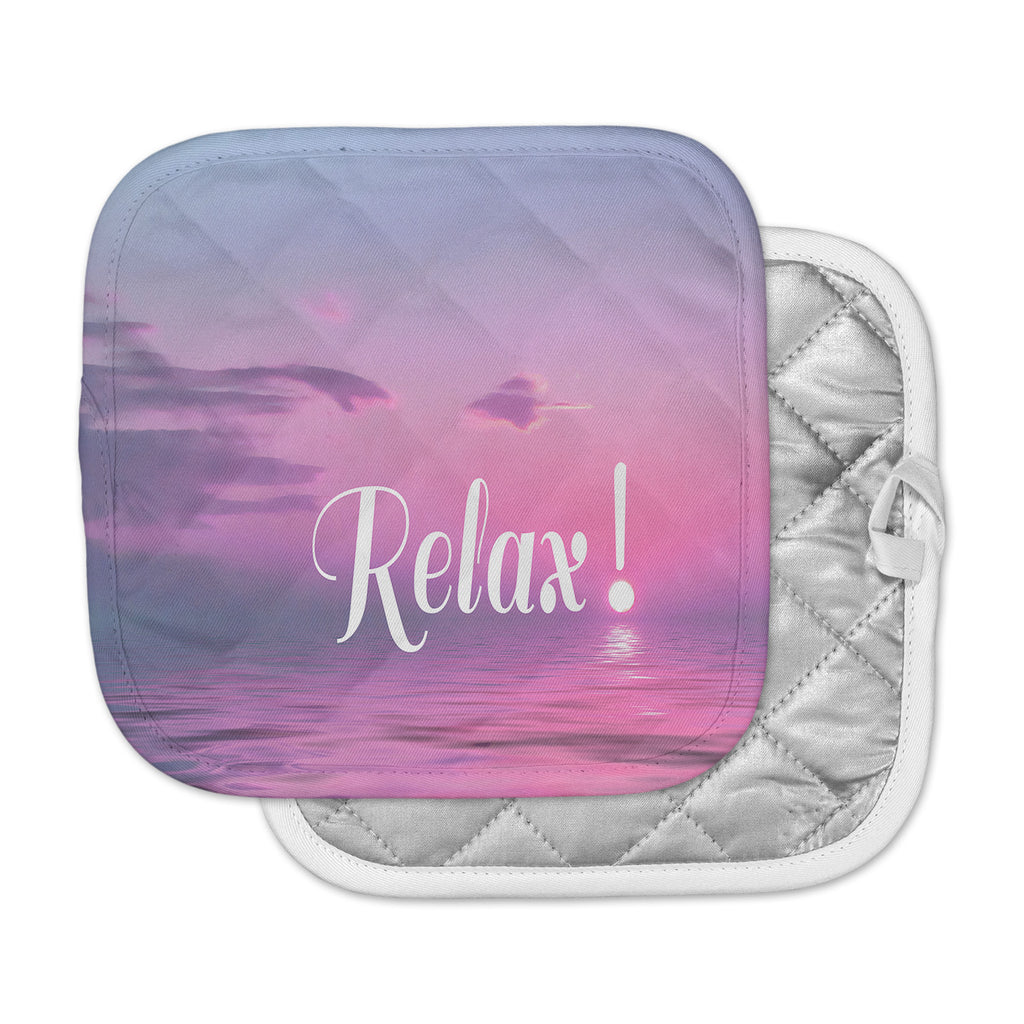 "Alison Coxon ""Relax"" Pink Typography Pot Holder"